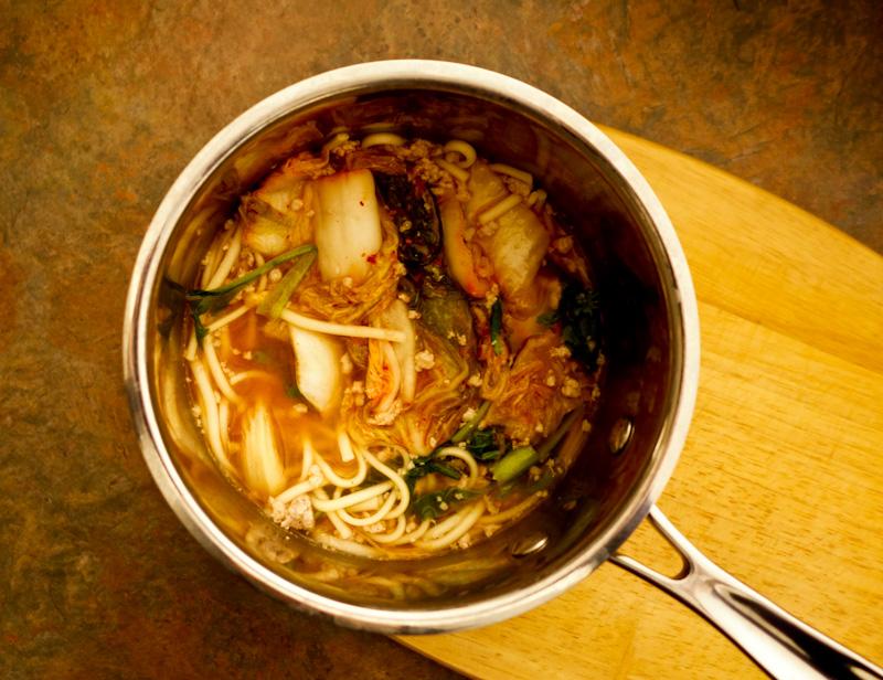 Spicy Umami Kimchi Udon Noodles In A Miso Broth