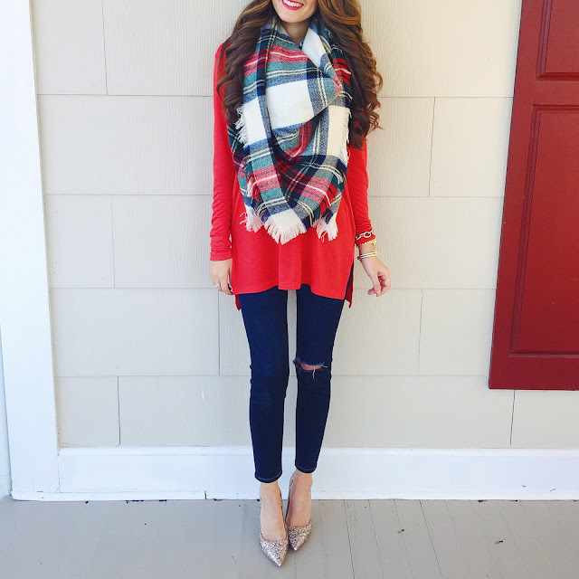 Plaid blanket scarf outfit