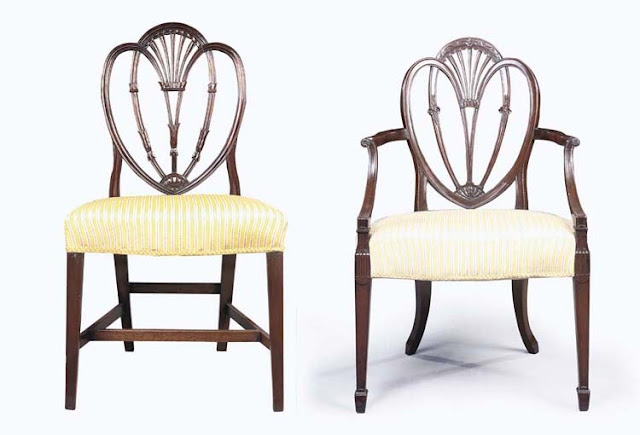 Mahogany chairs in the Hepplewhite style, made circa 1790