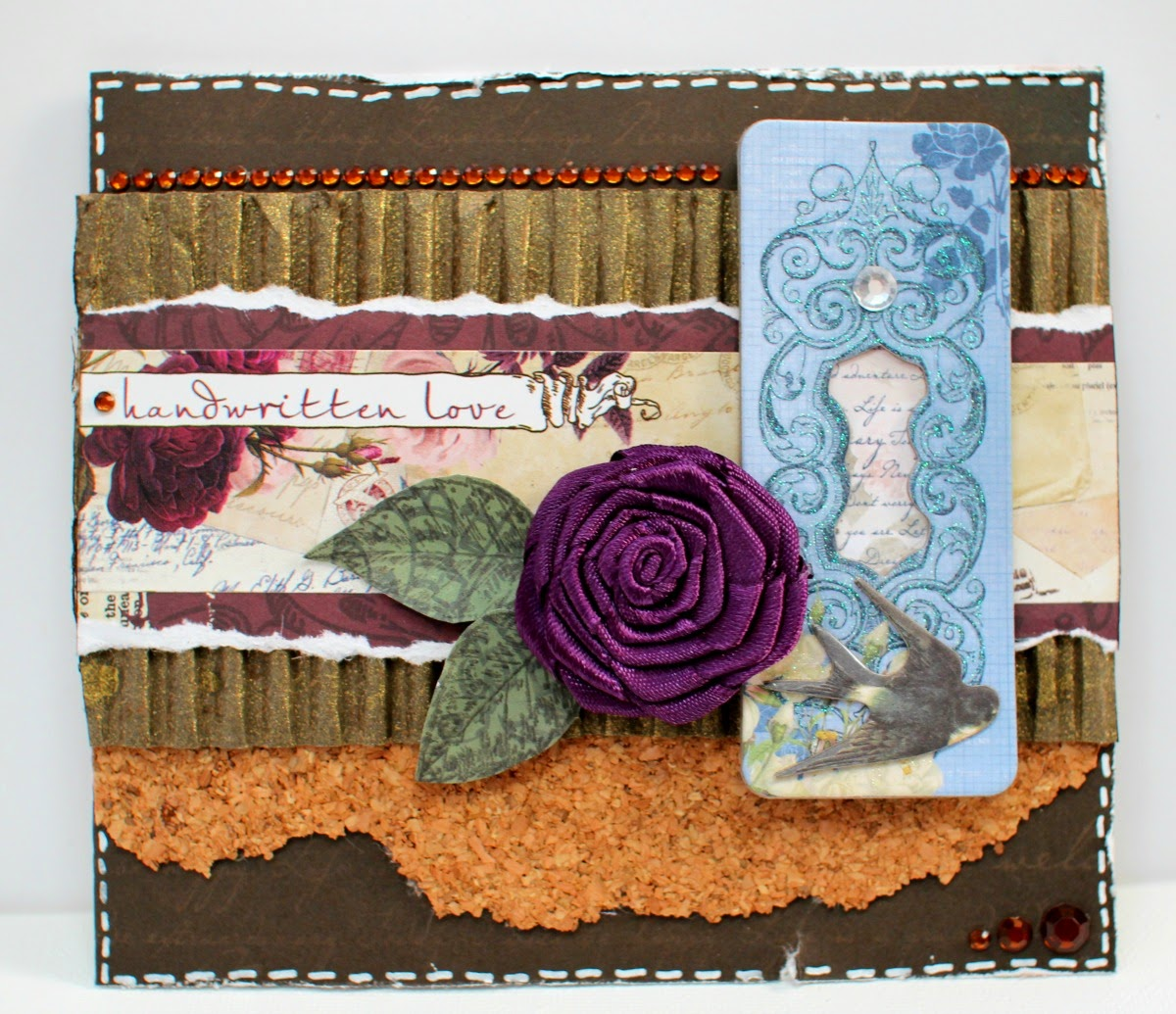 Handwritten Love Card by Ilene Tell using BoBunny Rose Cafe Collection