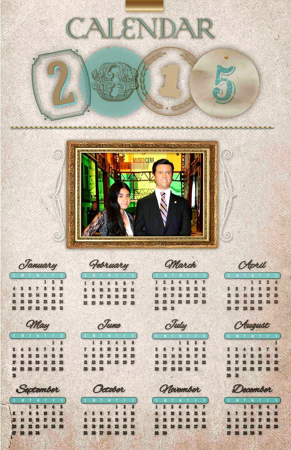 Pergamino con marco fotográfico para calendario 2015
