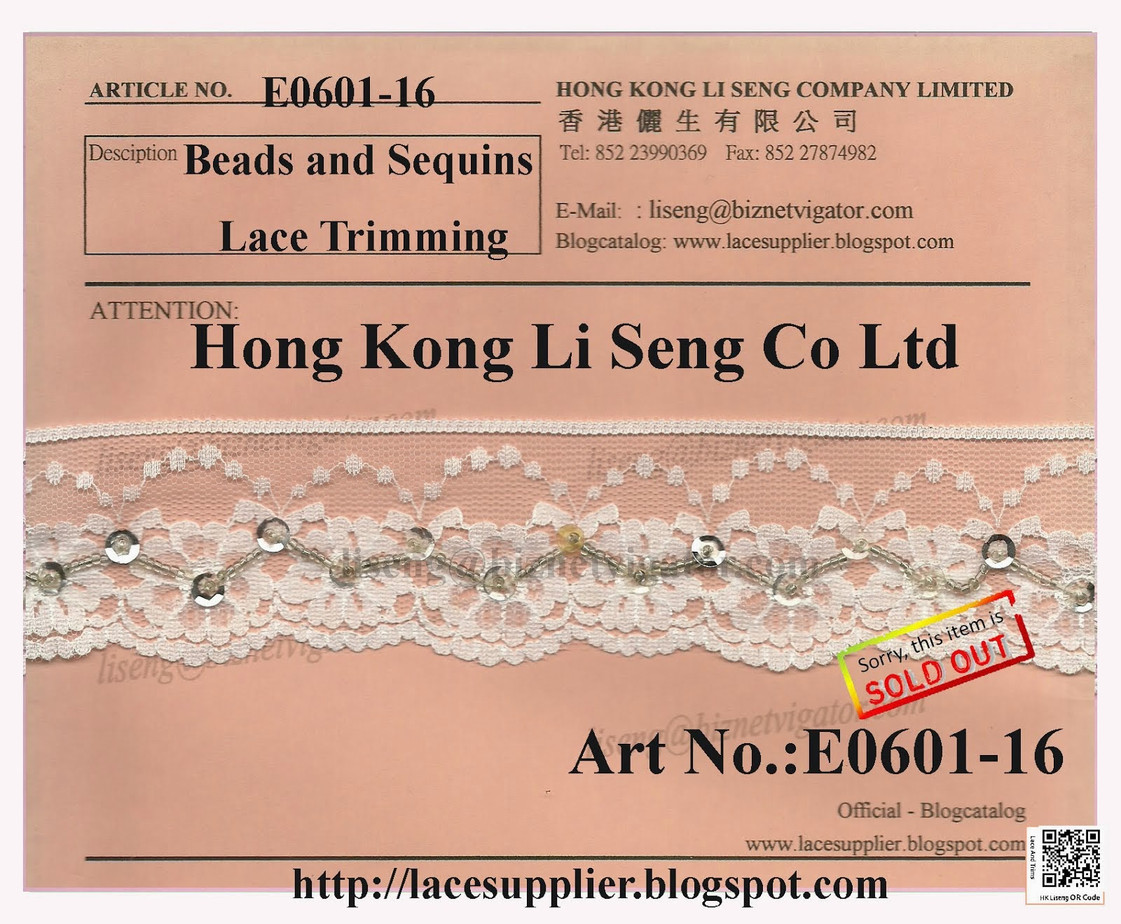 Beads and Sequins Lace Trims Manufacturer - Hong Kong Li Seng Co Ltd