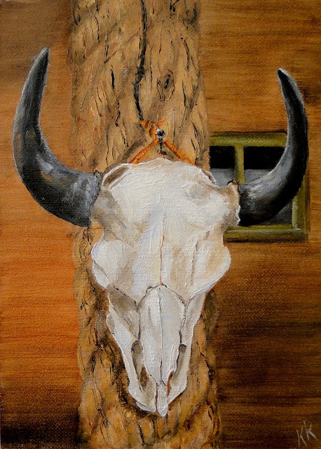 cow skull on a post, western art
