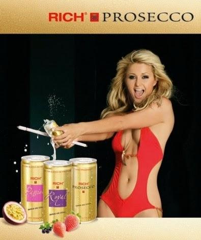 prosecco paris hilton testimonial dorata spumeggiante bollicine packaging mktg design
