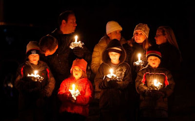 A vigil for the 26 murdered in Newtown last week
