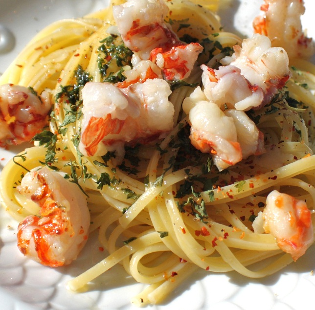 Linguine with Rock Shrimp, Anchovies and Aglio e Olio Plus Video | What's Cookin' Italian Style ...