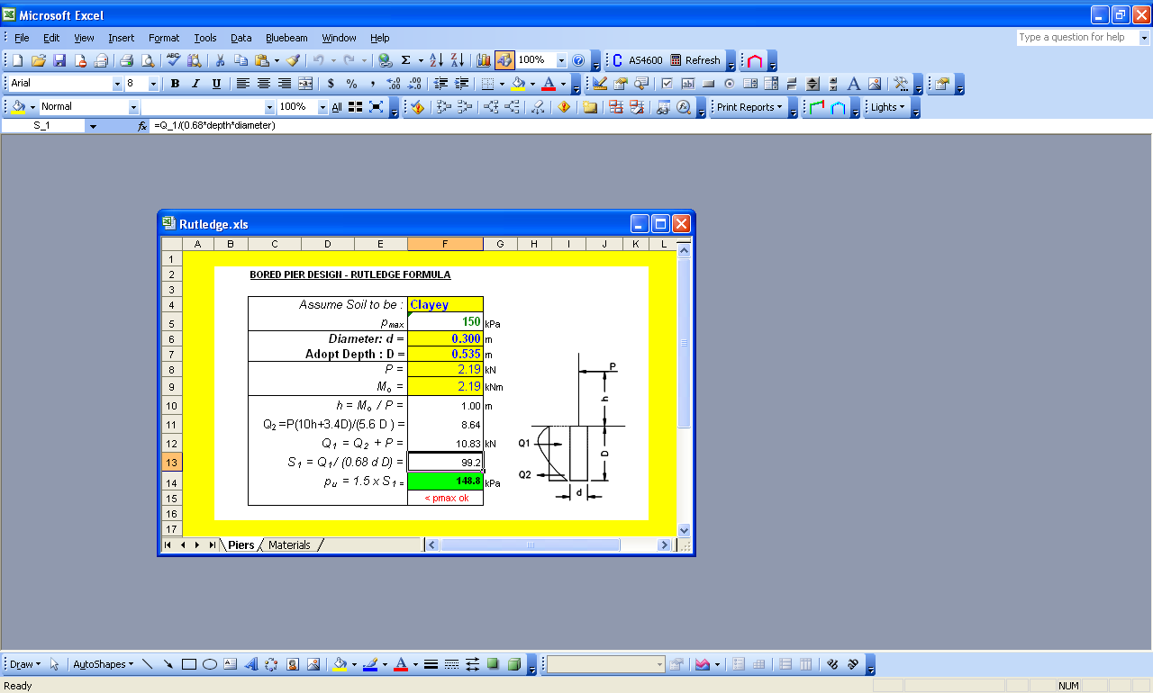 Spreadsheets and databases post footing design rutledge for Cold room design calculations xls