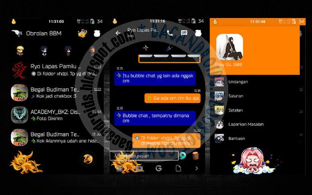 download BBM MOD Tema Naruchat Black Terbaru V2.9.0.49