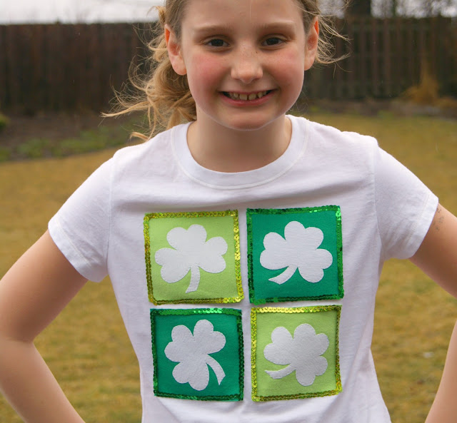 DIY: Upcycled t-shirts {Shamrocks + Sequins} by Posh Pink Giraffe