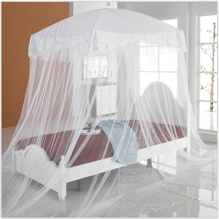 New Bed Canopy Mosquito Net Luxury Sequins Lace Bedding Fits Twin Queen