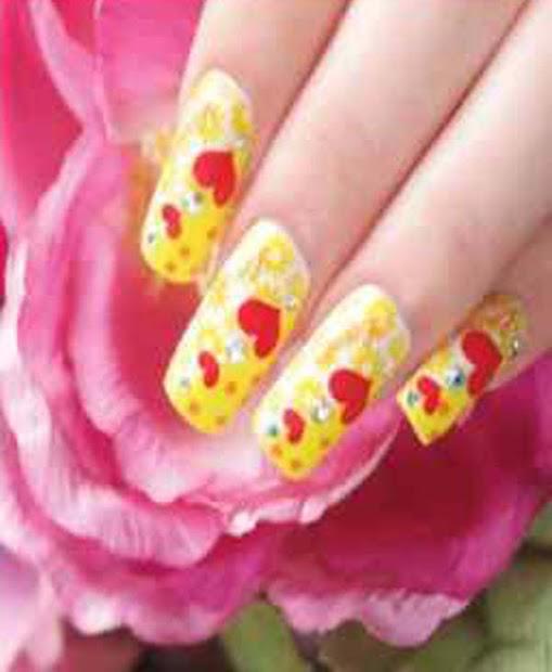 pink love nail art design