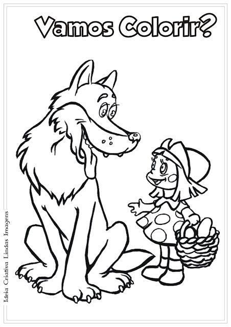 Chapeuzinho Vermelho e o Lobo desenho para colorir