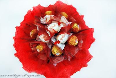 słodki bukiet rafaello ferrero rocher bukiet z cukierków Barbara Wójcik Piekary Śląskie