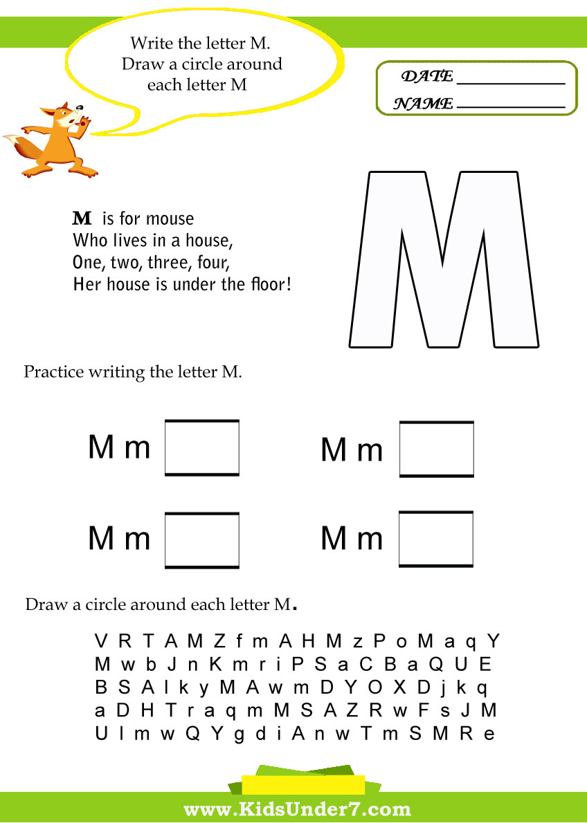 Kids Under 7 Letter M Worksheets