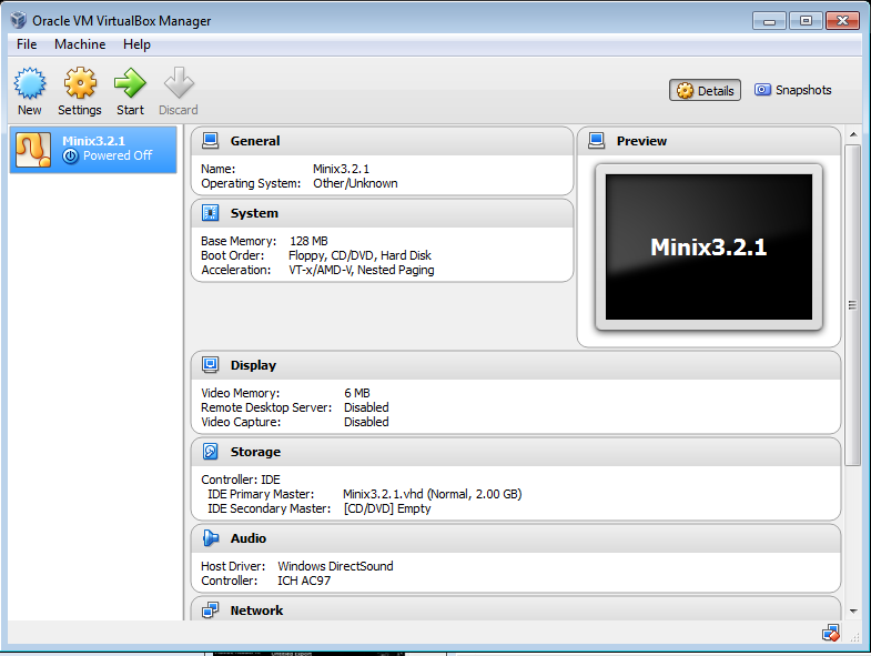 Minix 3 running on Virtual Box