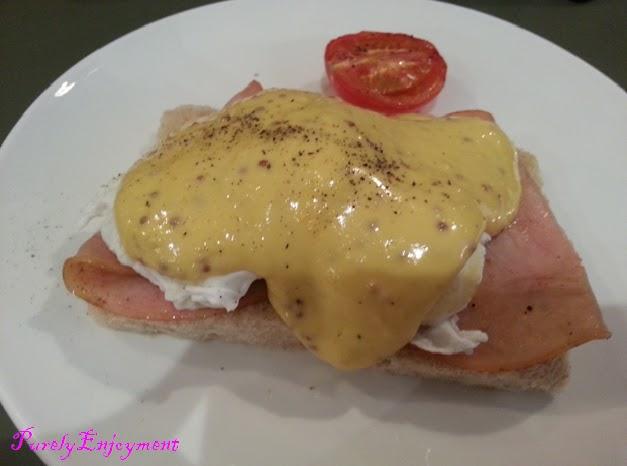 eggs benedict with turkey ham turkey ham brie spicy cranberry sauce on ...