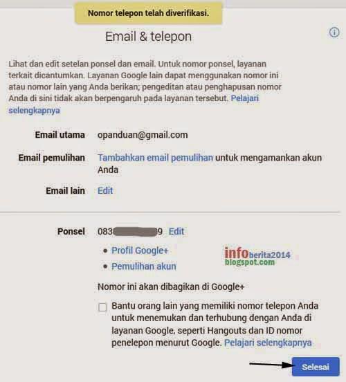 pemberitahuan verifikasi nomor hp akun google berhasil
