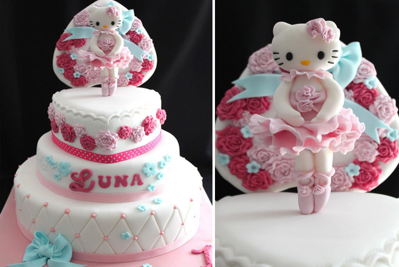 gâteau 3D hello kitty danse
