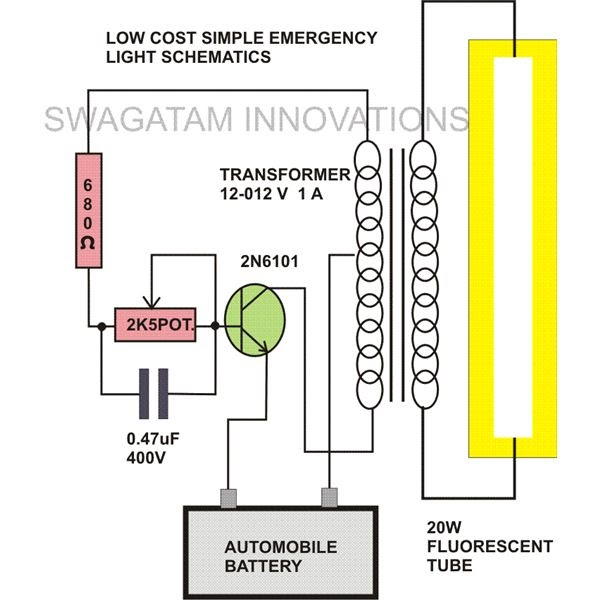 20 Watt Tubelight Emergency Light Circuit Diagram