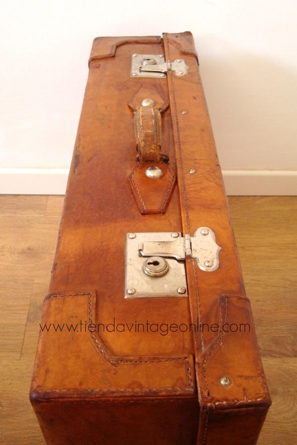 Kp tienda vintage online maleta de piel antigua ref m62 for Maletas antiguas online