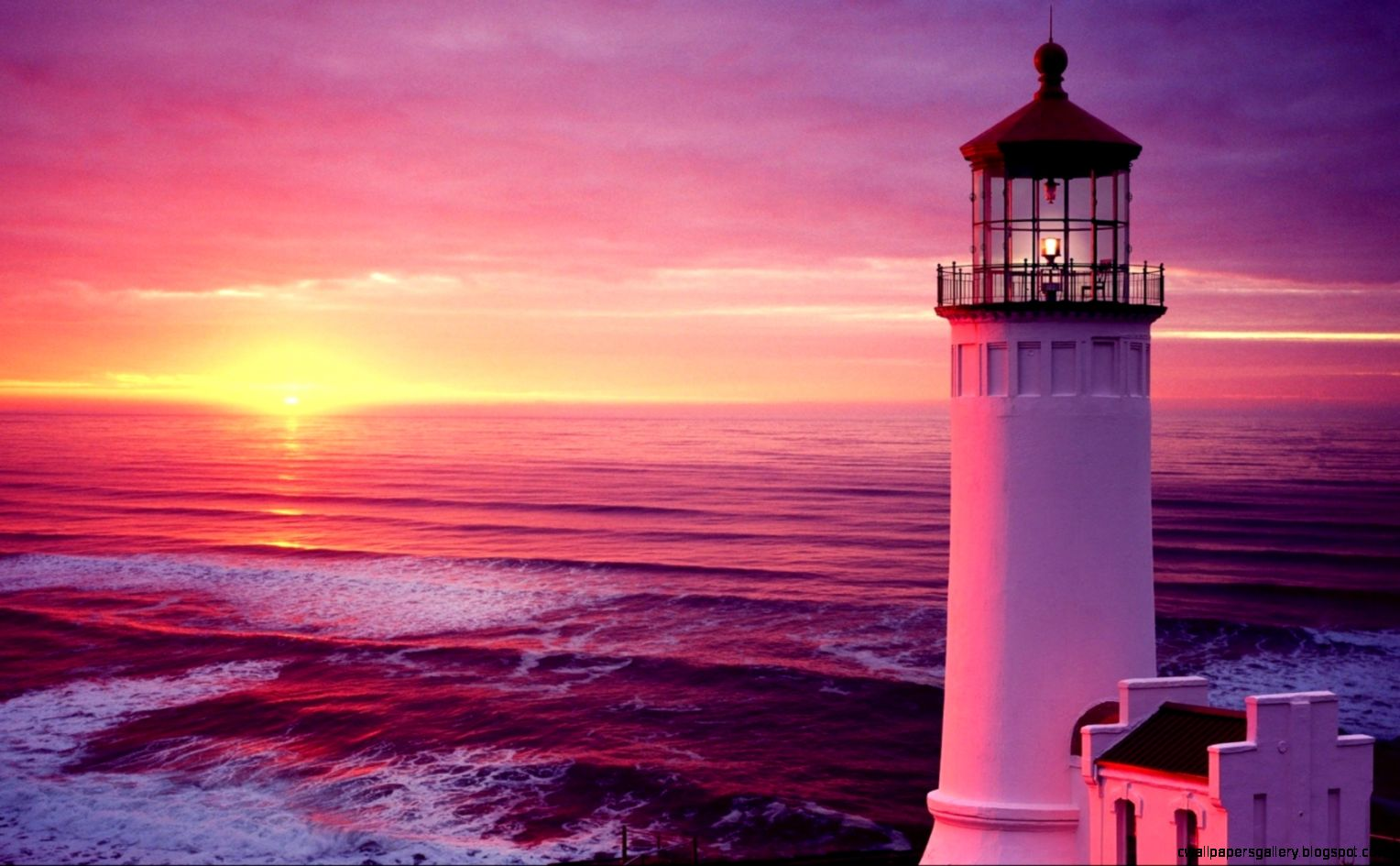 1680x1050 Sunset Lighthouse Wallpaper