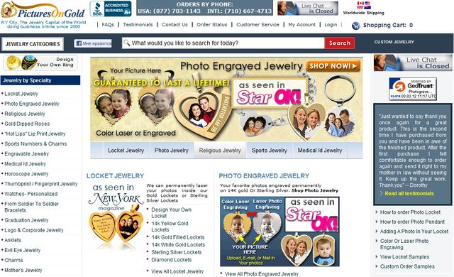 Jewelry at PicturesOnGold.com