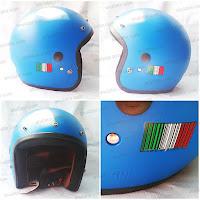Helm Vespa Retro Classic Barcode Model ARC N50 Blue