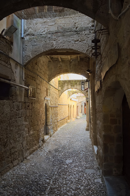 Still beautiful empty streets inside the old medieval city in Rhodes, Greece