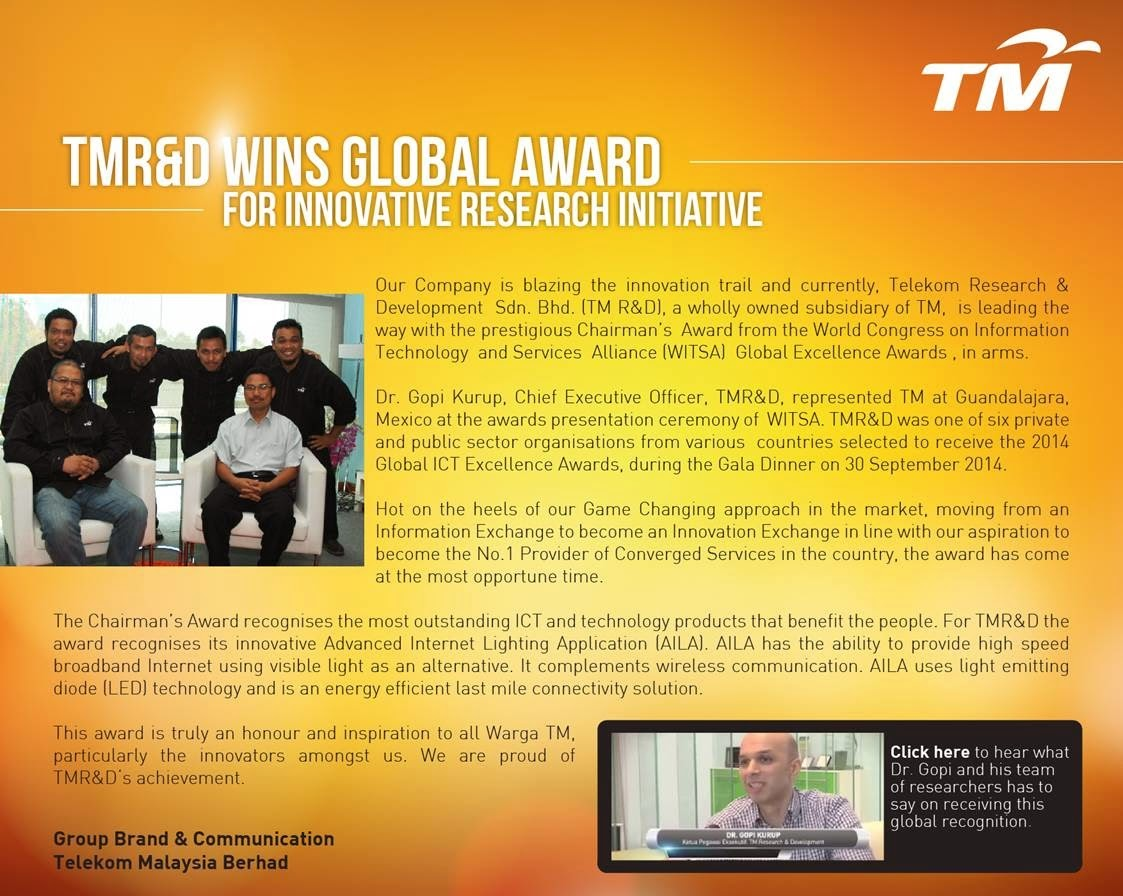 TM R&D Wins Global Award for Innovative Research Initiative