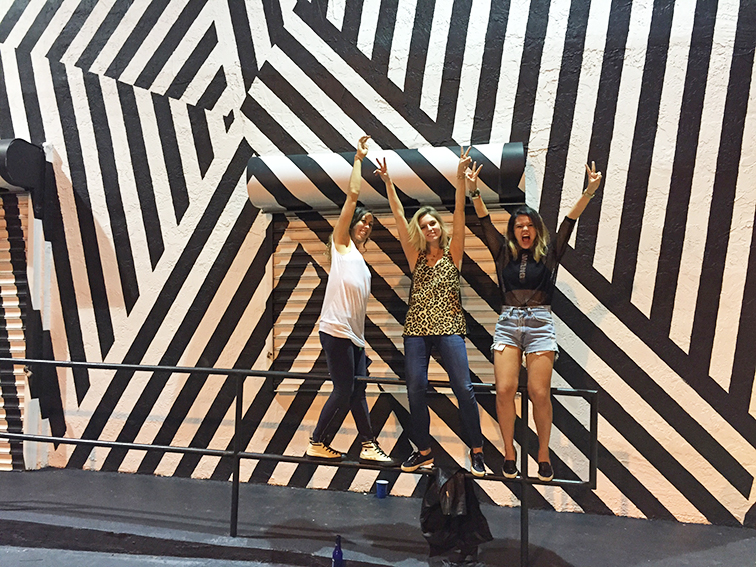 Fashion Over Reason at Art Basel 2014, striped street srt mural, friends