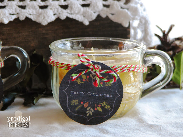 Evey's 12 Days of Christmas Giveaways with Organic Beeswax Candles in Repurposed Crystal Punch Cups at Sweet Song Bird via Prodigal Pieces www.prodigalpieces.com #prodigalpieces