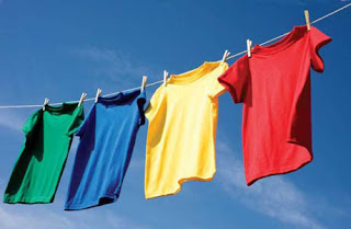 colourful t shirts on a washing line