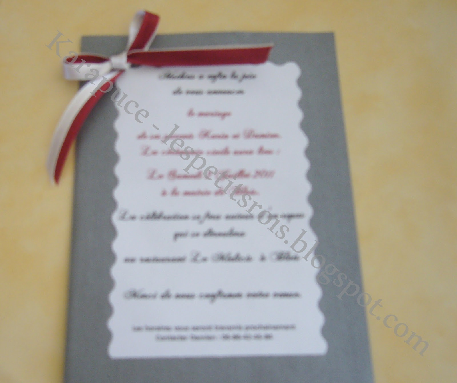 carte d invitation mariage fait maison meilleur blog de. Black Bedroom Furniture Sets. Home Design Ideas