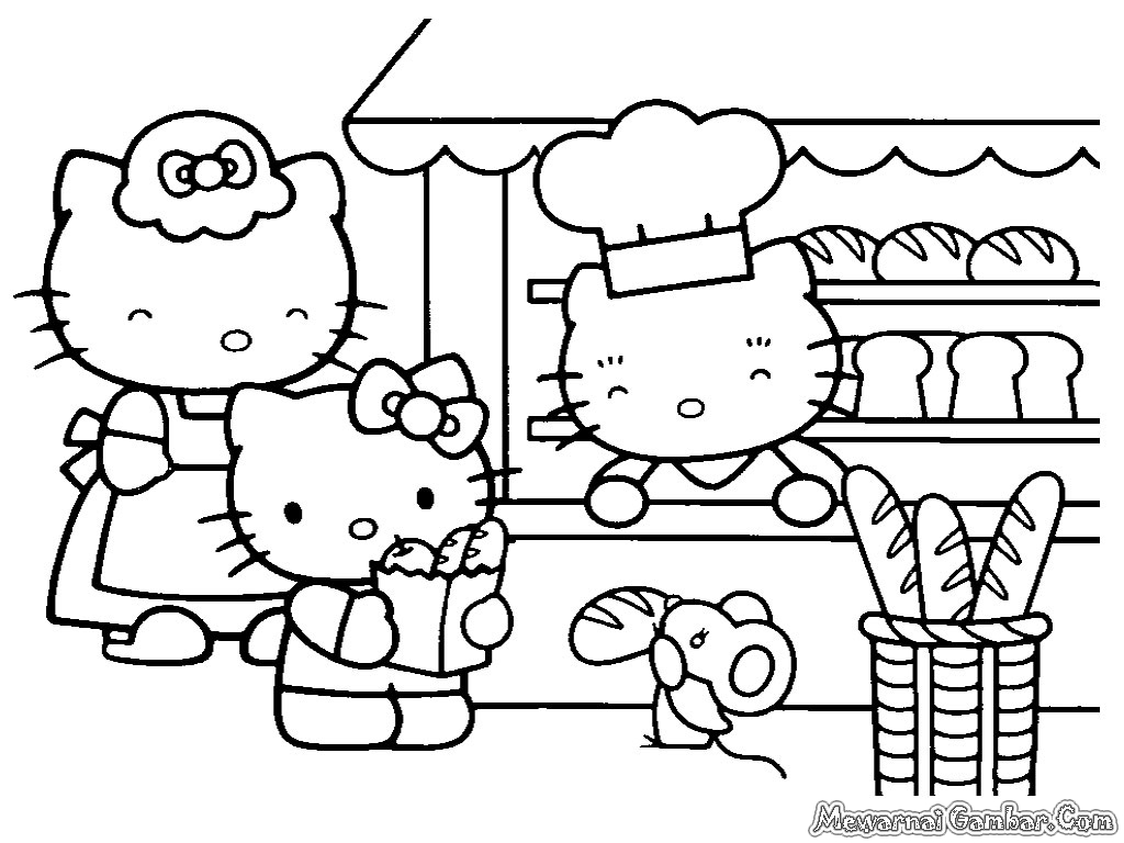 Free Coloring Pages Of Gambar Hello Kitty