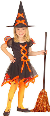 Hekse kostume i orange og sort