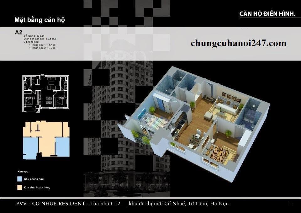 Mặt bằng căn hộ A2 chung cư CT2 Cổ Nhuế cần bán, Căn A2 tầng 5 toà CT2B
