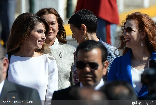 Jordan's Queen Rania and Morocco's Princess Lalla Salma attend a welcome ceremony at the Royal Palace in the Moroccan city of Casablanca