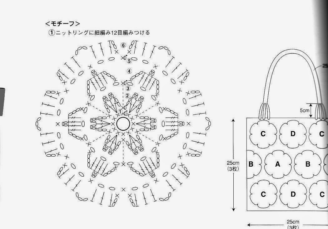 Схема сумки из мотивов крючком
