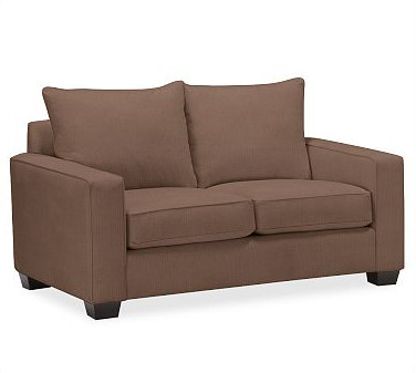 Small sofa pb comfort square upholstered loveseat for Small square sofa