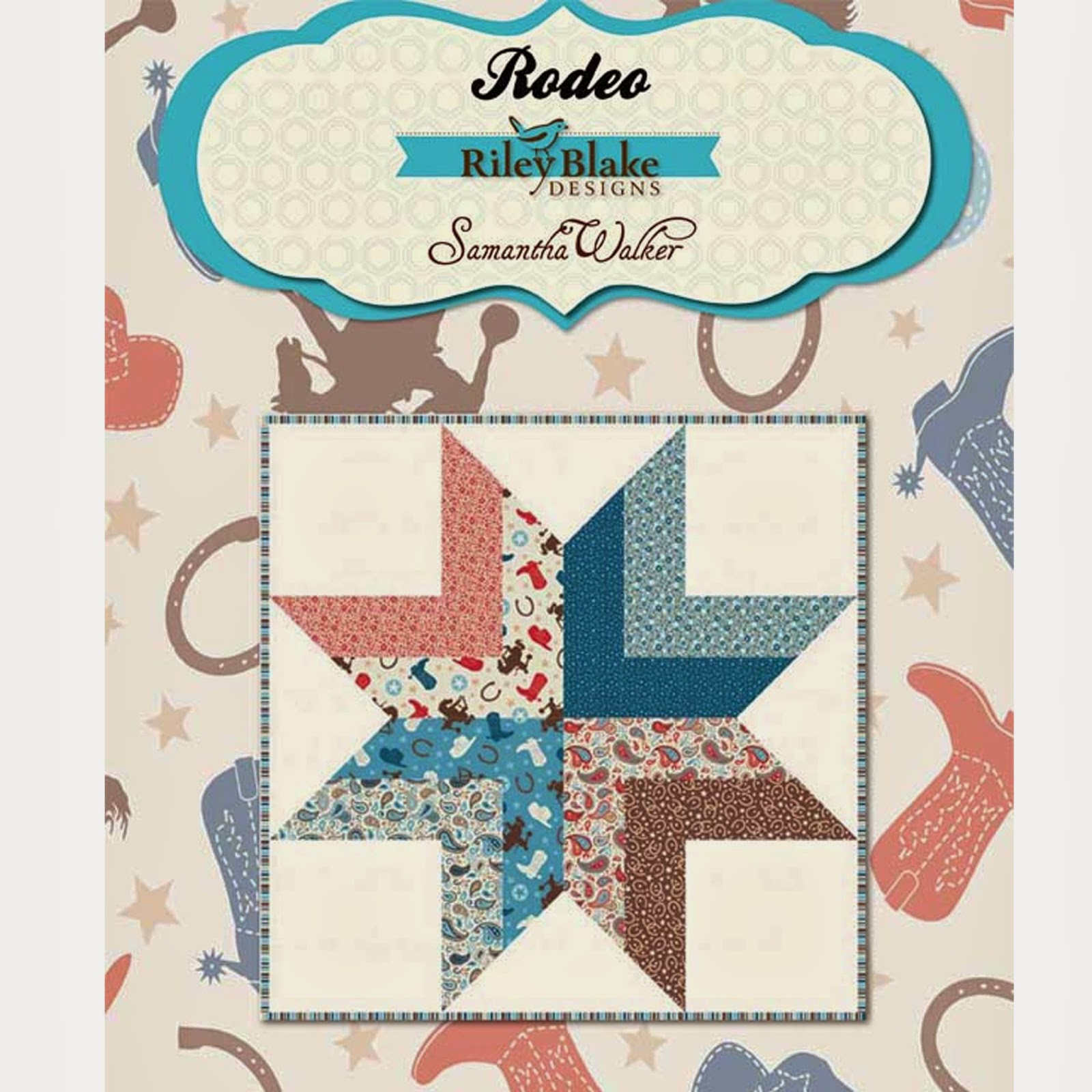 Free Rodeo Quilt Pattern using Riley Blake Designs ROUND UP ROUNDUP Quilt Fabric by Samantha Walker