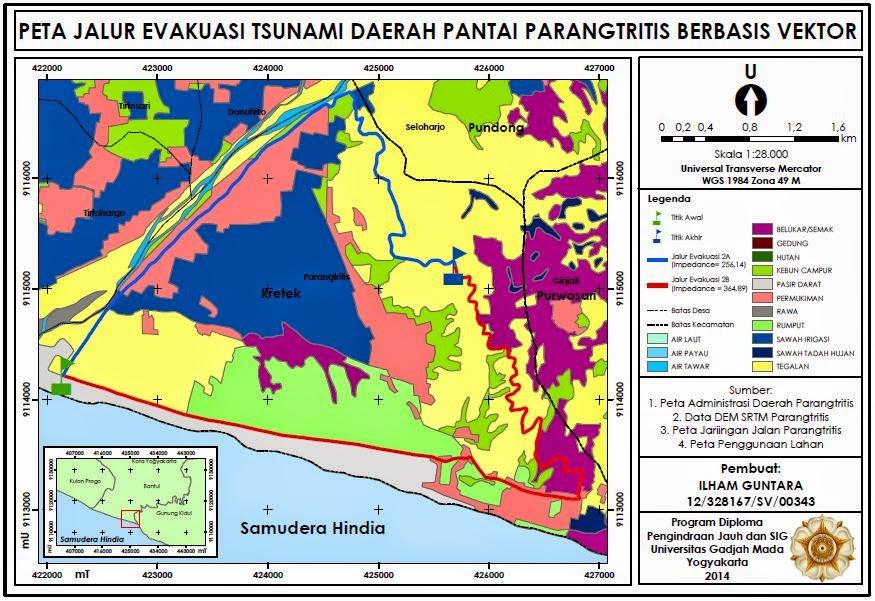 Contoh Peta Jalur Evakuasi Tsunami Daerah Pantai Parangtritis www.guntara.com