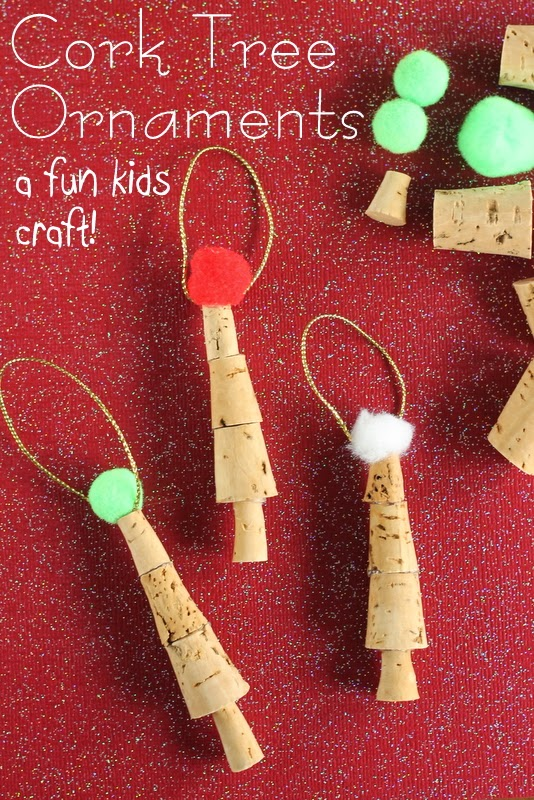 Kids Craft:  Cork Tree Ornaments -- make these in just a few minutes with the kids help of course!