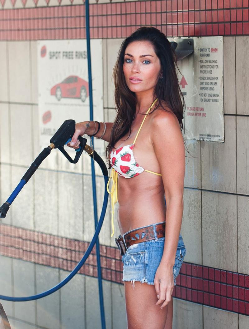 Jasmin Waltz Washing a Car In Bikini