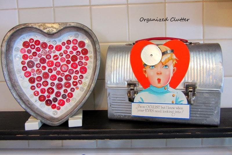 Valentine's Day Cake Pan Button Mosaic www.organizedclutterqueen.blogspot.com