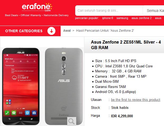 harga asus zenfone 2 ze551ml 4gb 32 gb erafone