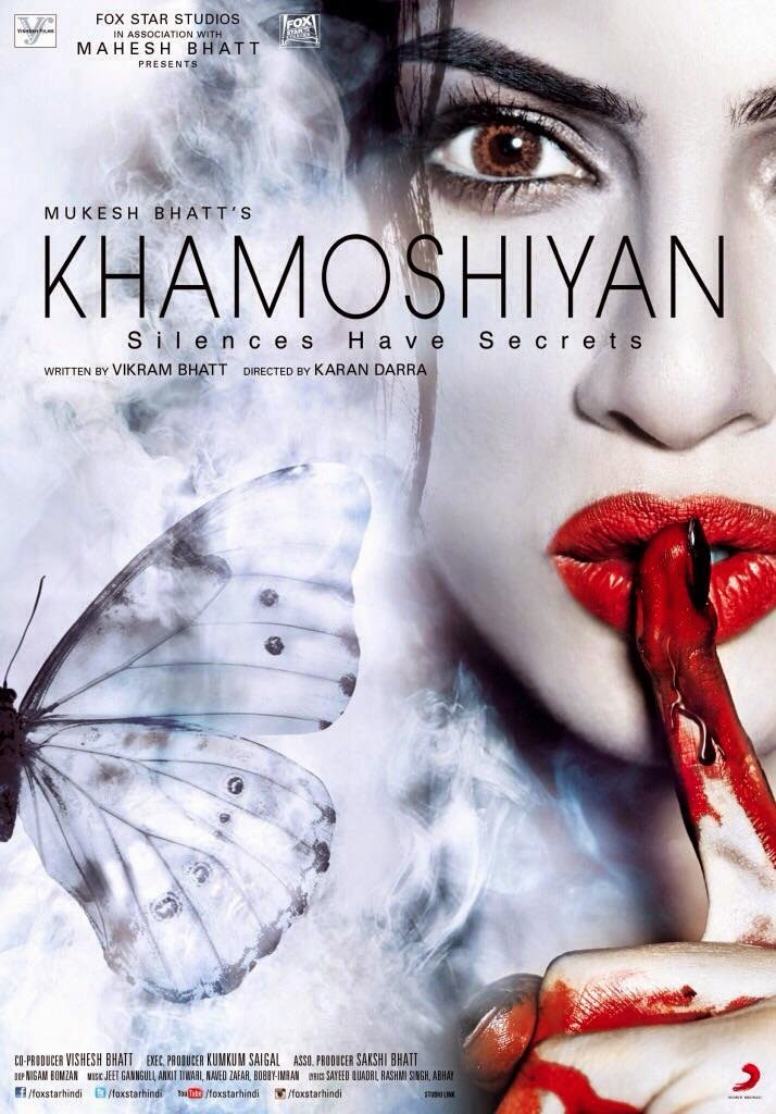 khamoshiyan movie poster featuring Sapna Pabbi with red blood in hands and butterfly