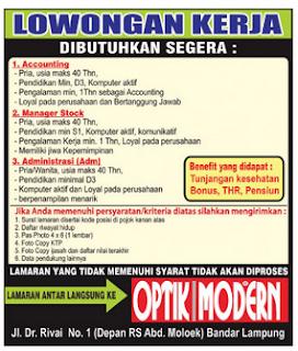 Lowongan Accounting, Admin dan Manager di Lampung