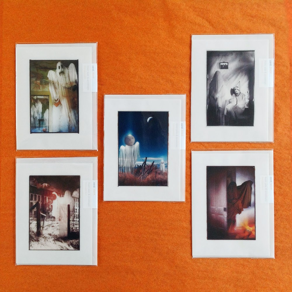 From a 9 card series of spooky scenes featuring ghosts in haunted houses and creepy places.