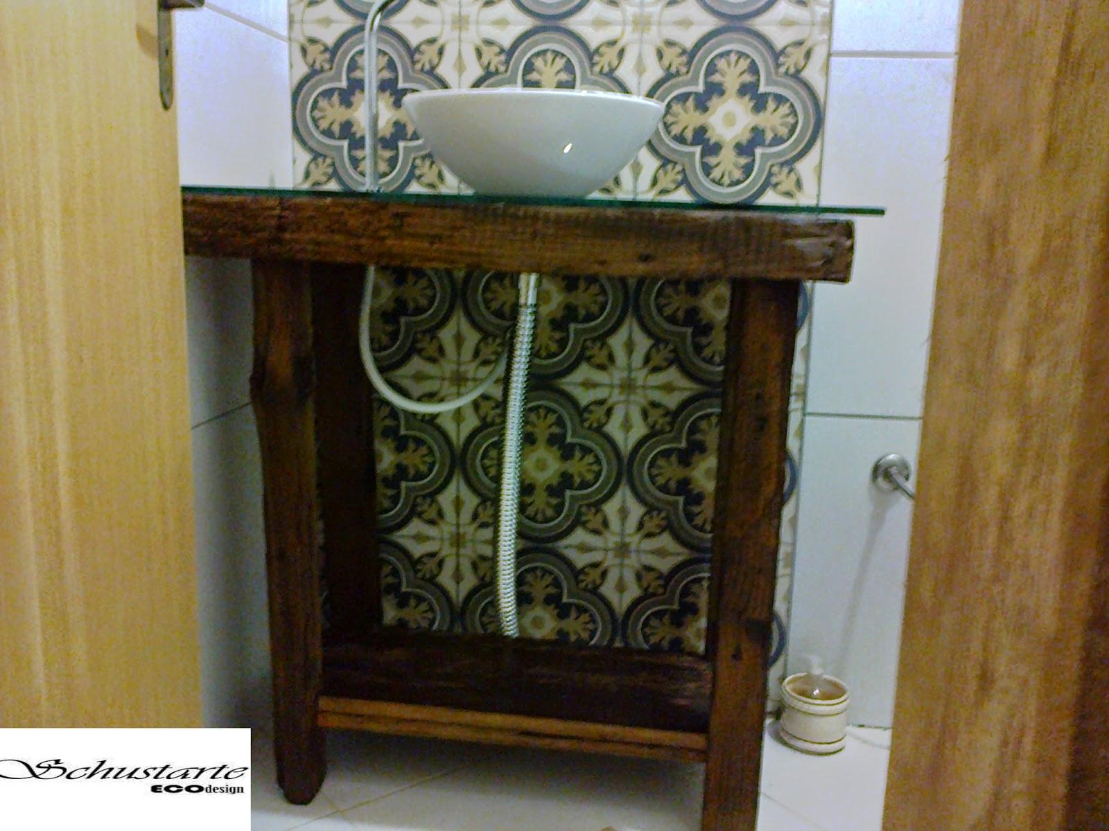 schustarte eco design: Bancada de banheiro em madeira de demolição  #6B481D 1600 1200