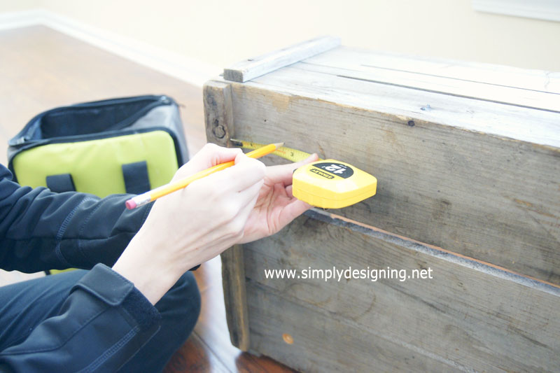 Measure and Mark for Drill Holes | learn how to make a crate into a rolling home storage option - simply | #diy #crate #storage